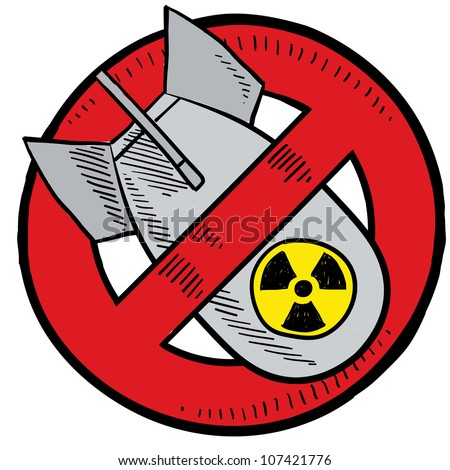 Doodle style anti-nuclear symbol showing a nuclear bomb in a red circle, crossed out.  Illustration is in vector format.