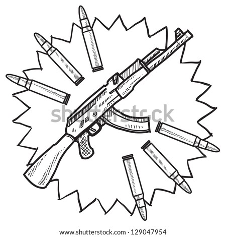 Doodle style assault rifle or AK-47 gun illustration in vector format. - stock vector