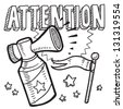 Doodle style attention announcement icon in vector format.  Sketch includes text, air horn, and flag. - stock vector