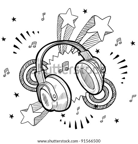 Doodle style audio headphones illustration in vector format with retro 1970s pop background - stock vector