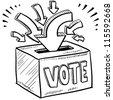 Doodle style ballot box vote in the election illustration in vector format. - stock photo