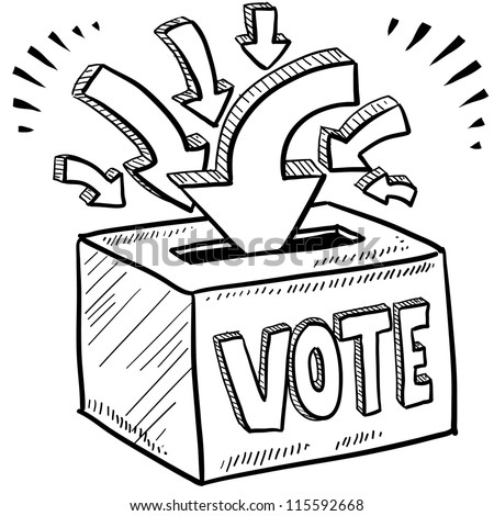Doodle style ballot box vote in the election illustration in vector format.