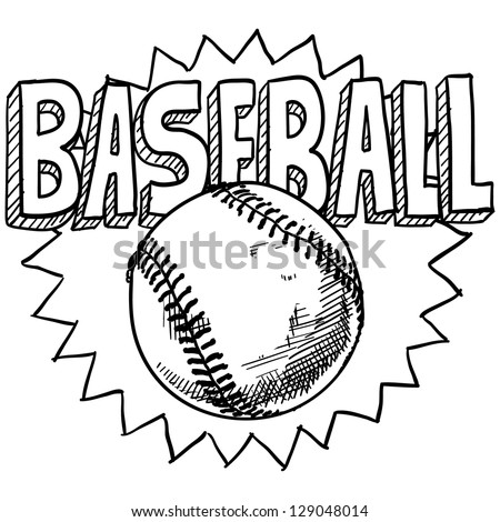 Doodle style baseball sports illustration in vector format.  Includes ball and title text. - stock vector