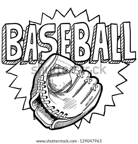 Doodle style baseball sports illustration in vector format.  Includes ball, glove or mitt, and title text.