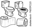 Doodle style bathroom objects illustration including toilet and paper in vector format. - stock photo