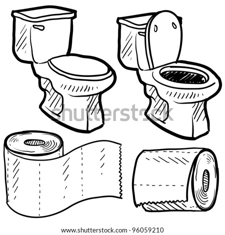 Doodle style bathroom objects illustration including toilet and paper in vector format. - stock vector
