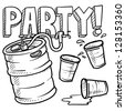 Doodle style beer keg, frat party, or kegger illustration in vector format - stock vector
