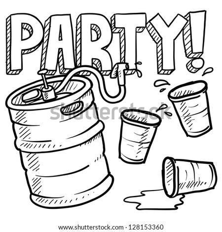 Doodle style beer keg, frat party, or kegger illustration in vector format - stock vector