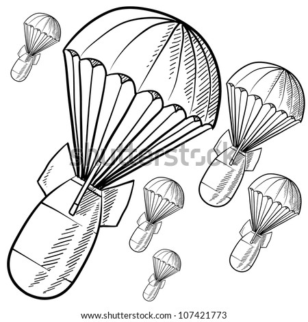 Doodle style bombs descending on parachutes in vector format.