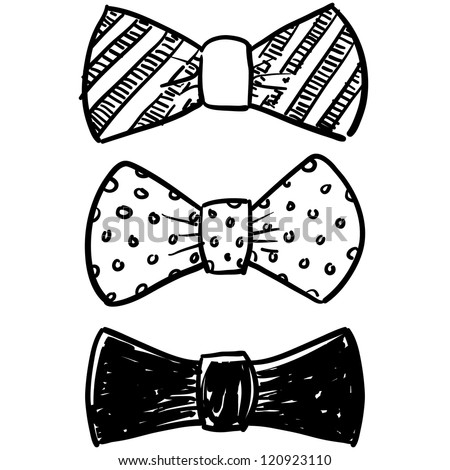 Doodle style bow tie men's clothing assortment in vector format. - stock vector