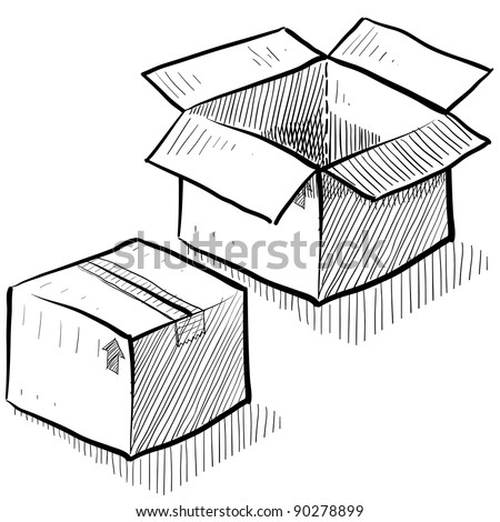 Doodle style box, package, or shipping vector illustration