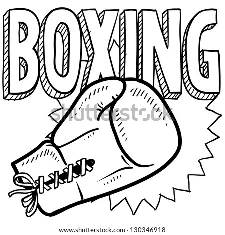Doodle style boxing illustration in vector format. Includes text and boxing gloves. - stock vector