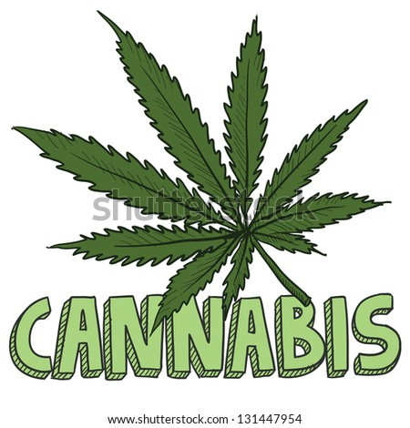 Doodle style cannabis marijuana leaf sketch in vector format. Includes text and pot plant. - stock vector