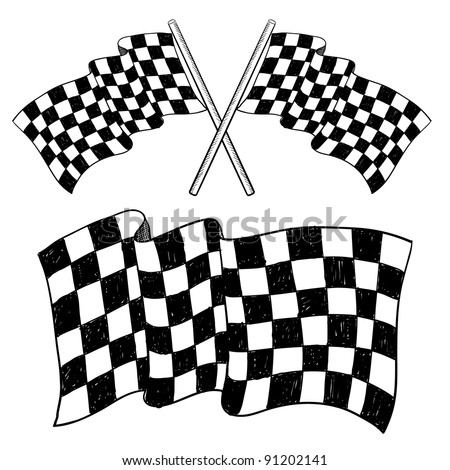 Doodle style car racing checkered flag illustration in vector format suitable for web, print, or advertising use. - stock vector