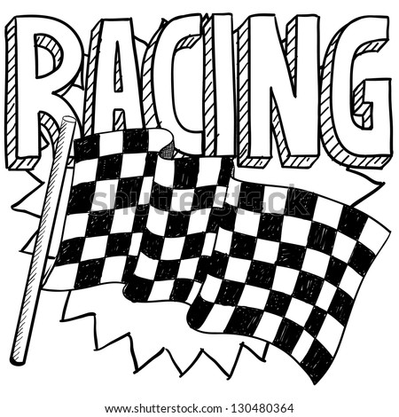 Doodle style car racing sports illustration.  Includes text and checkered flag. - stock vector