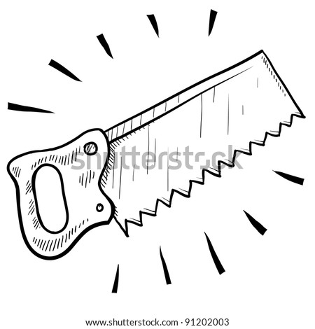 Doodle style carpenter's saw illustration in vector format suitable for web, print, or advertising use.