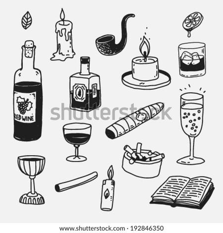 doodle style cartoon items set - stock vector