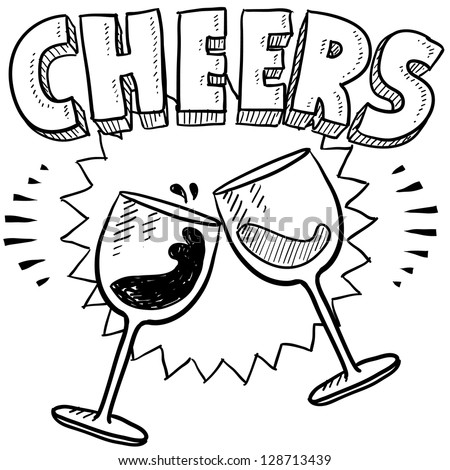 Doodle style Cheers celebration illustration in vector format.  Includes text and wine glasses.