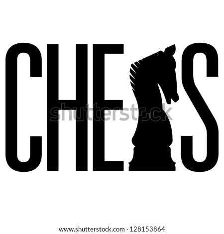 Doodle style chess illustration in vector format.  Includes text, along with integrated knight piece silhouette. - stock vector