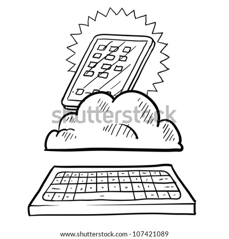 Doodle style cloud computing illustration showing a tablet residing in the data cloud acting as a workstation with a keyboard.