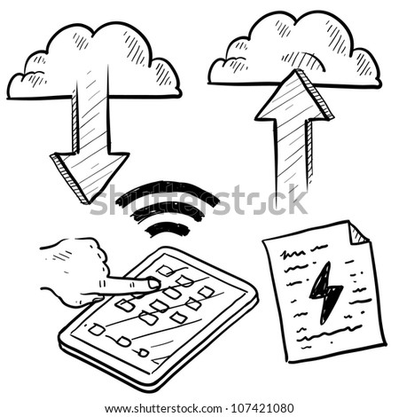 Doodle style cloud computing illustration showing data being uploaded into the cloud and downloaded to smartphones and mobile devices. - stock vector