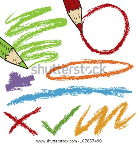 Doodle style colored pencil lines, circles, and scratches sketch in vector format. - stock vector