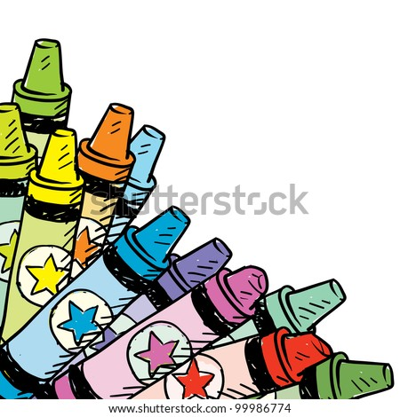 Doodle style colorful crayon corner tab in vector format - stock vector