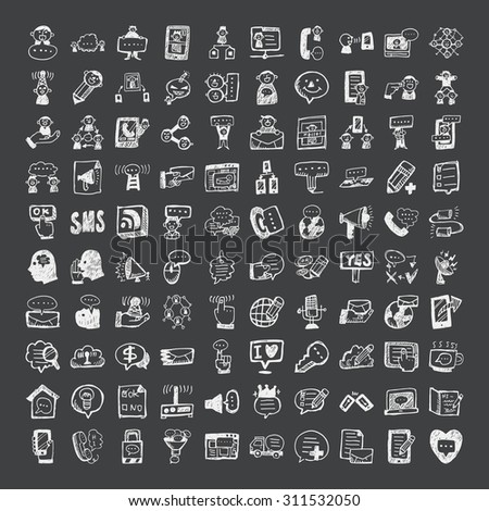 doodle style communication icons - stock vector