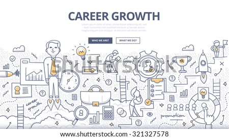 Doodle style concept of career growth, selecting candidates, career ladder, corporate opportunities, human resource management. Modern line illustration for web banners, hero images, printed materials - stock vector