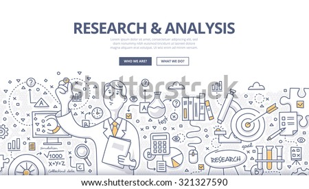 Doodle style concept of general research & analysis, problem solving, collecting data, scientific technologies approach.  Modern line style illustration for web banners, hero images, printed materials - stock vector