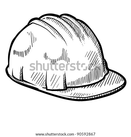 Doodle style construction worker safety hardhat in vector format