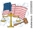 Doodle style courtroom objects including gavel and scales of justice in front of a patriotic American flag background. - stock vector