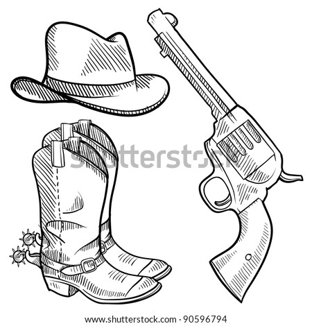 Doodle style cowboy objects illustration in vector format including gun, hat and boots