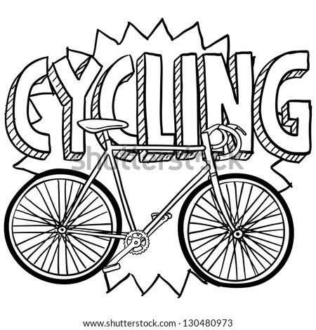 Doodle style cycling sports illustration.  Includes text and bicycle.