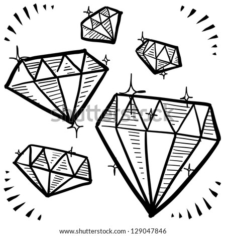 Doodle style diamond gem variety illustration in vector format.