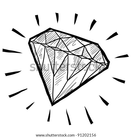 Doodle style diamond or wealth icon illustration in vector format suitable for web, print, or advertising use. - stock vector