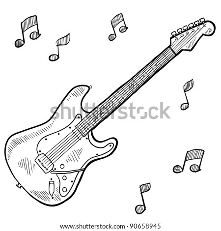 Doodle style electric guitar in vector format - stock vector