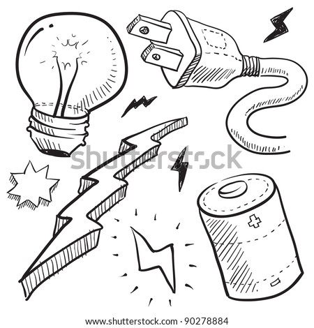 Doodle style electricity or power vector illustration with cord and plug, light bulb, battery, and lightning bolt - stock vector