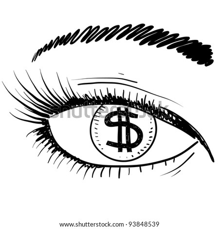 Doodle style eye on the prize sketch in vector format. - stock vector