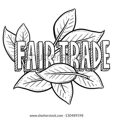 Doodle style fair trade food illustration in vector format.  Includes text and leaves. - stock vector