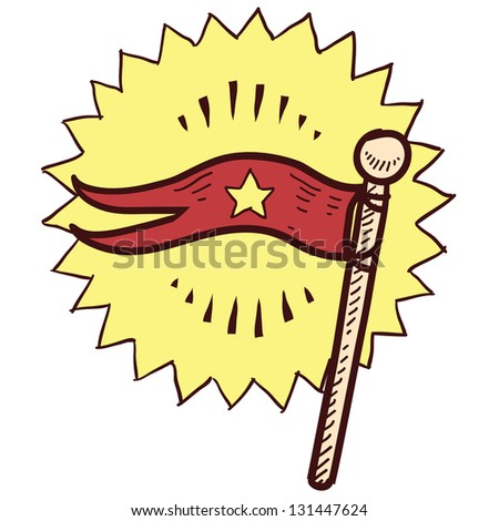 Doodle style flag or pennant illustration in vector format. - stock vector
