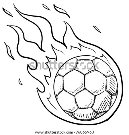Doodle style flaming soccer or futbol illustration in vector format - stock vector