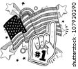 Doodle style foam finger that says #1 in front of a patriotic America flag background - stock vector