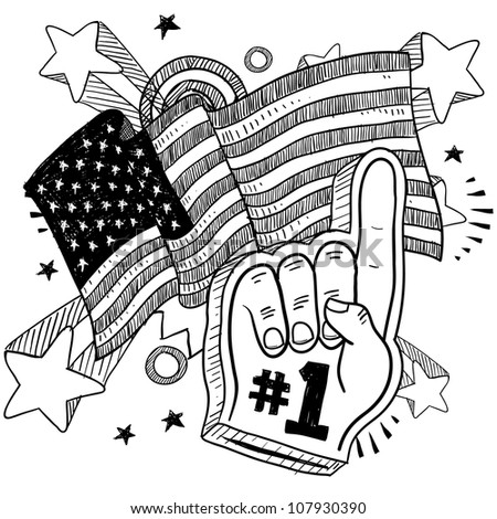 Doodle style foam finger that says #1 in front of a patriotic America flag background