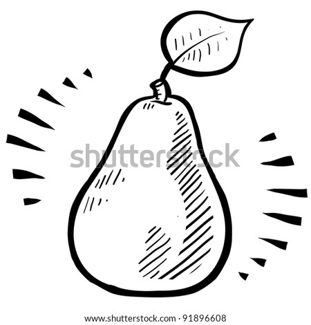 Doodle style fresh, juicy pear illustration in vector format - stock vector
