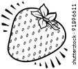 Doodle style fresh, juicy strawberry illustration in vector format - stock vector