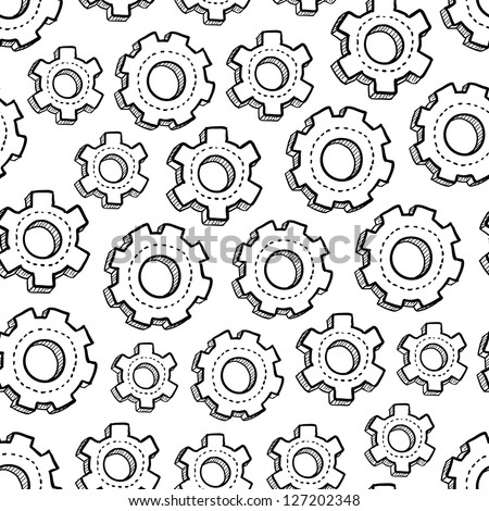 Doodle style gear and mechanical seamless vector background ready to be tiled. - stock vector