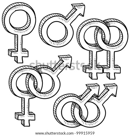 Doodle style gender symbols indicating types or relationships - gay, straight, and broken up