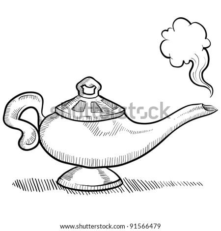Doodle Style Genie Aladdins Lamp Vector Illustration