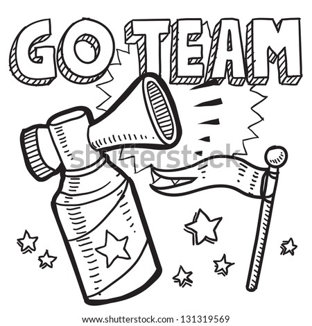 Doodle style go team announcement icon in vector format.  Sketch includes text, air horn, and flag.